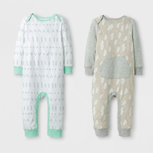 161dd671d Baby 2pk Coverall Set Cloud Island™ - Mint Oatmeal Newborn   Target