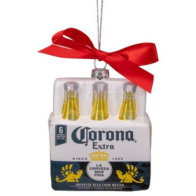 """Northlight Set of 6 Red, White, and Yellow Corona Six Pack Glass Christmas Ornament, 3.25"""""""