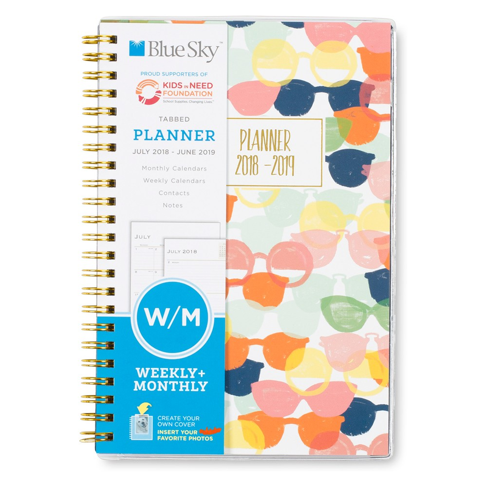2018-19 Academic Planner 5 x 8 Pink Sunglasses - Blue Sky, Multi-Colored