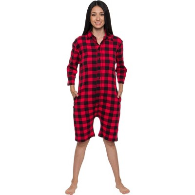 Silver Lilly- Buffalo Plaid Women's Short Sleeve Holiday Romper