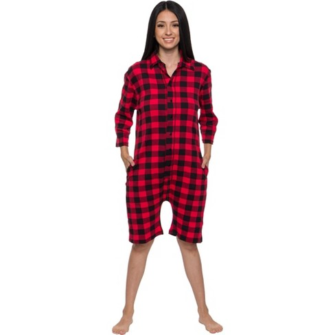 Silver Lilly- Buffalo Plaid Women's Short Sleeve Holiday Romper - image 1 of 4