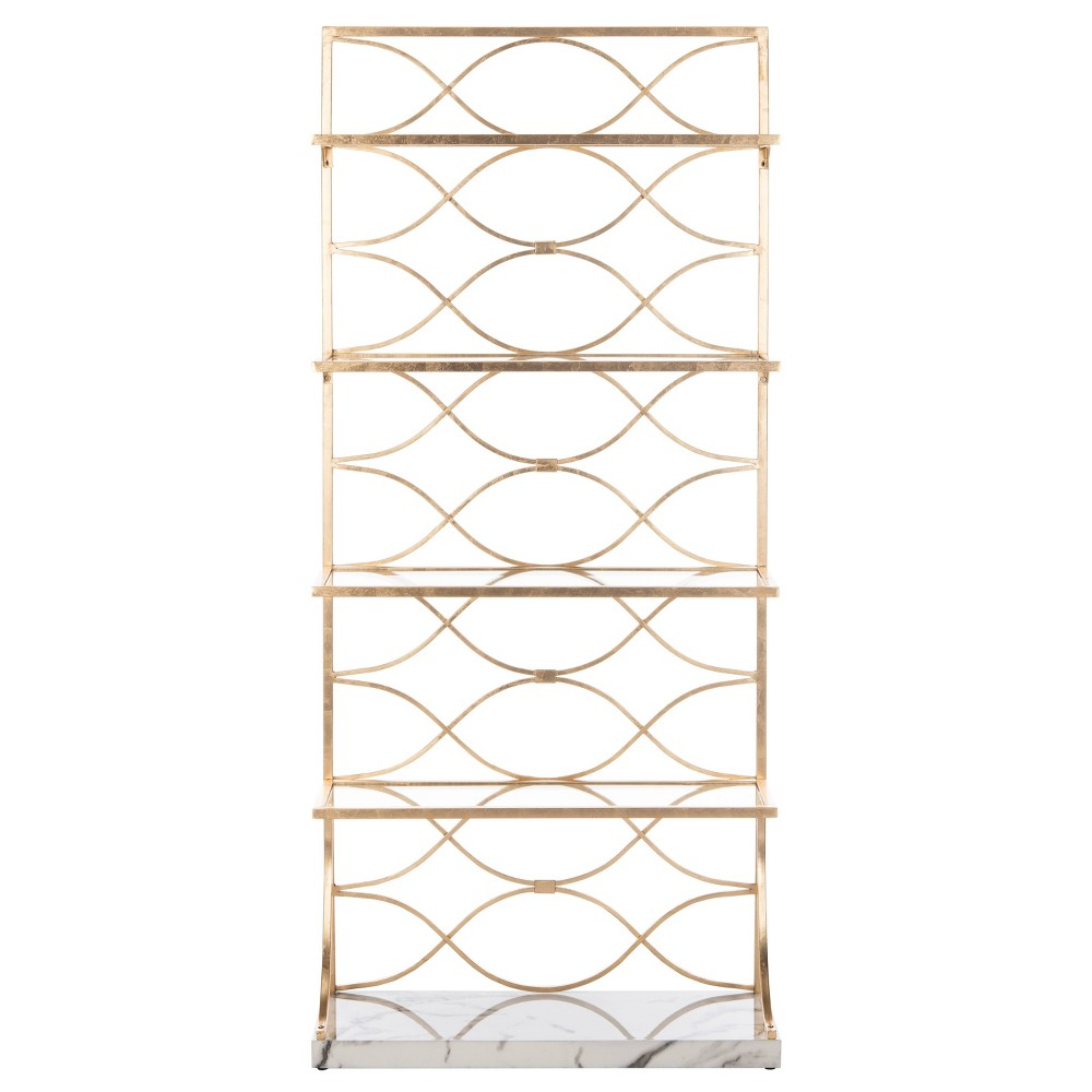 Spano 4 Glass Tier Marble Base Etagere Gold/White/Clear - Safavieh