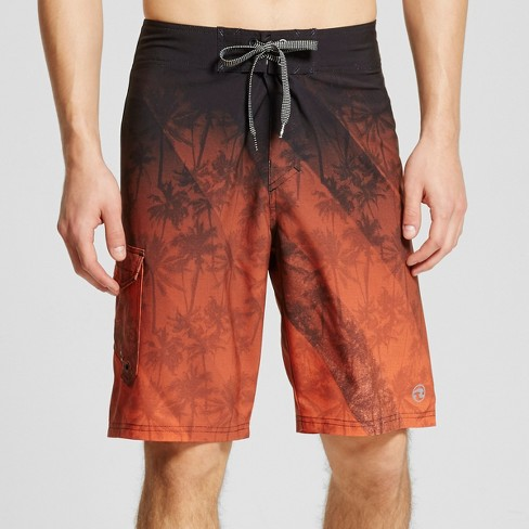 Men's Palm Tree Ombre Board Shorts Orange - Ocean Current - image 1 of 3