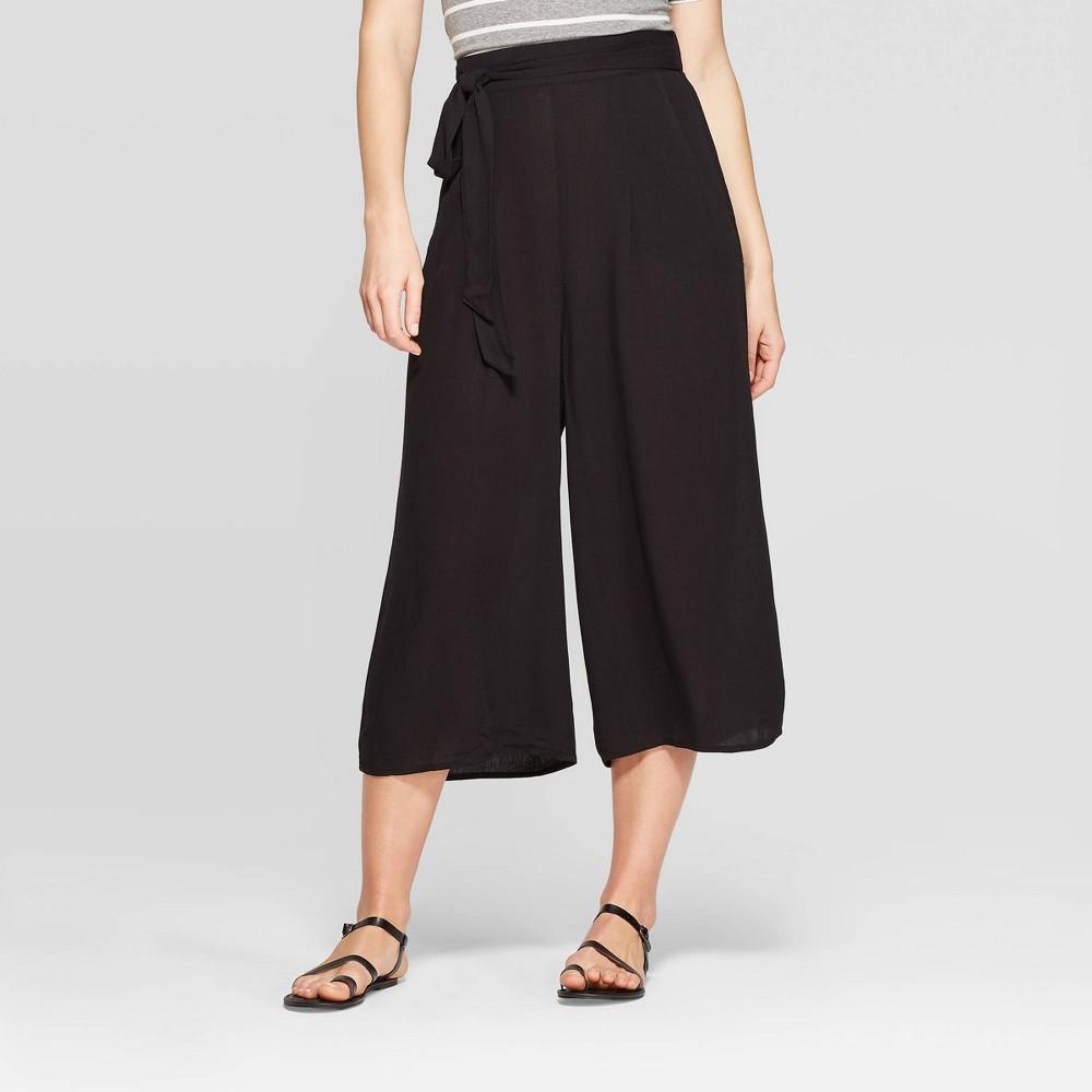 Women's Tie Front Cropped Black Palazzo Pants - Xhilaration Black M