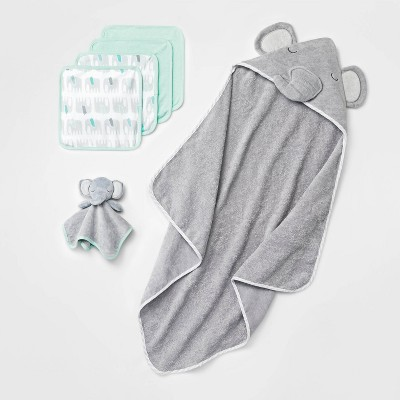 Baby Boys' Elephant Bath Towel And Washcloth Set - Cloud Island™ Gray One Size