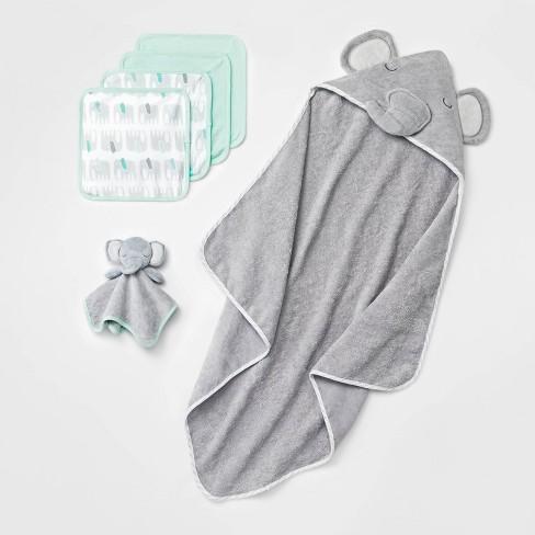 Baby Boys' Elephant Bath Towel And Washcloth Set - Cloud Island™ Gray One Size - image 1 of 2