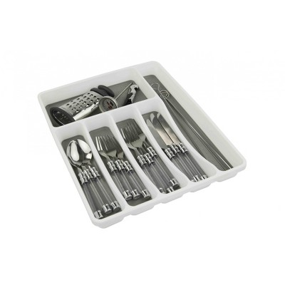 Home Basics Large Cutlery Tray with Rubber Lined Compartments, White