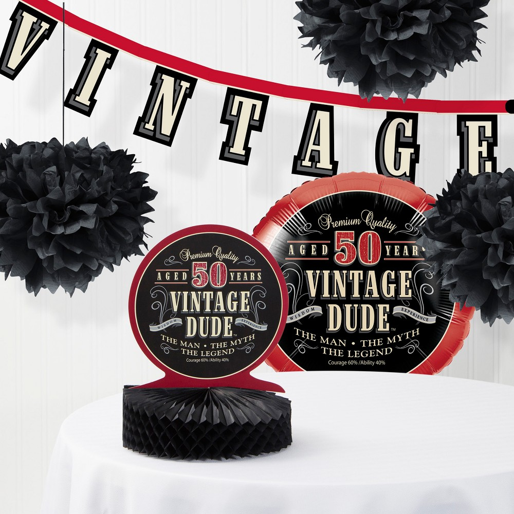 Vintage Dude 50th Birthday Party Decorations Kit