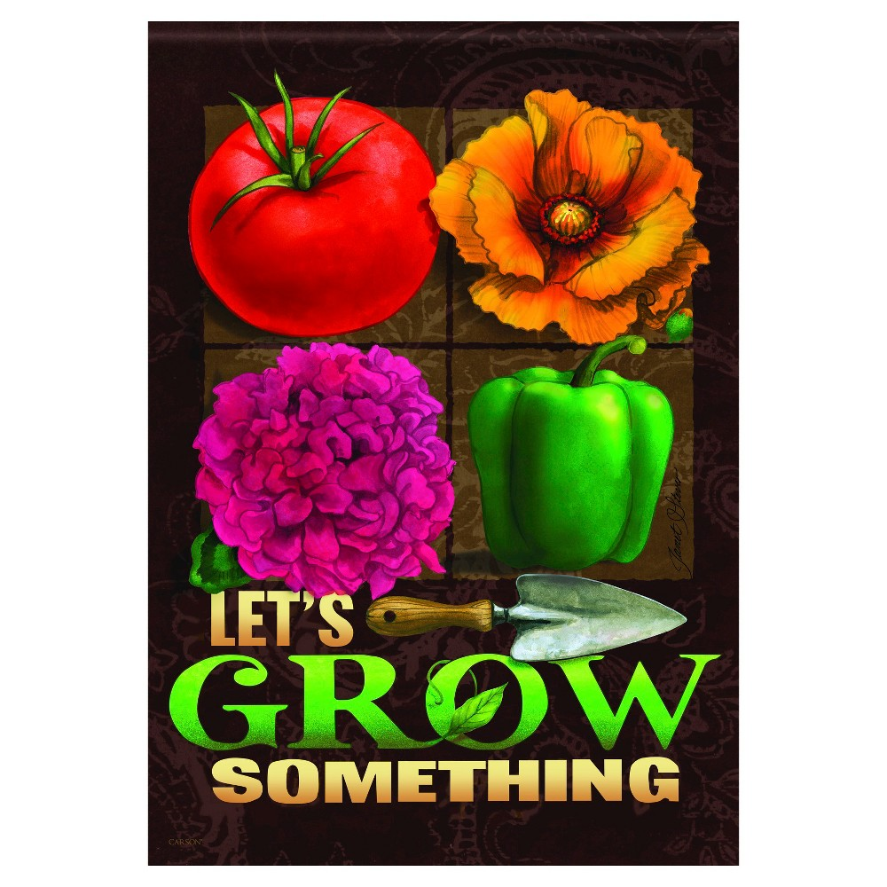 "Image of ""13""""x18"""" Let's Grow Something Garden Flag - Carson, Orange Red Green Brown"""
