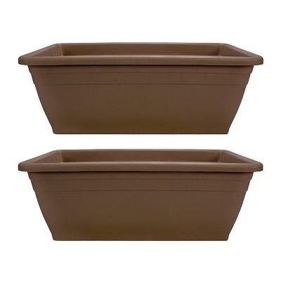 HC Companies 12-Inch Outdoor Plastic Deck Flower Planter Box, Chocolate (2 Pack)