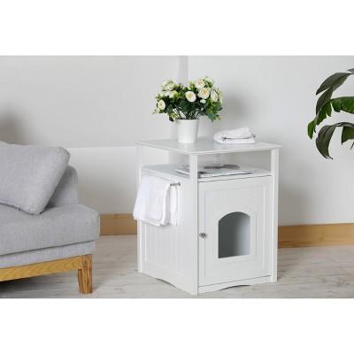 Decorative Litter Box Cover   White