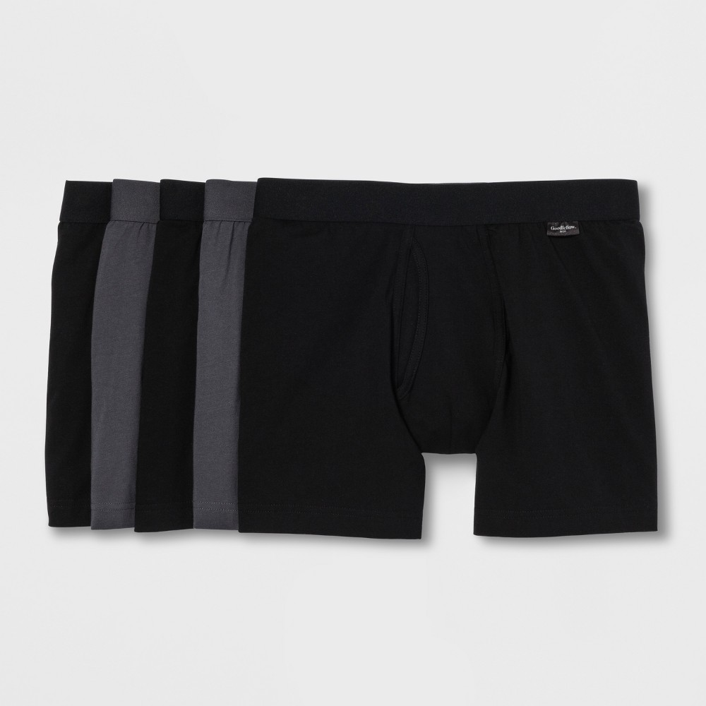 Men's Jersey Boxer Briefs 5pk - Goodfellow & Co Black/Gray L