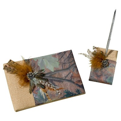 Camouflage Guest Book with Pen Set