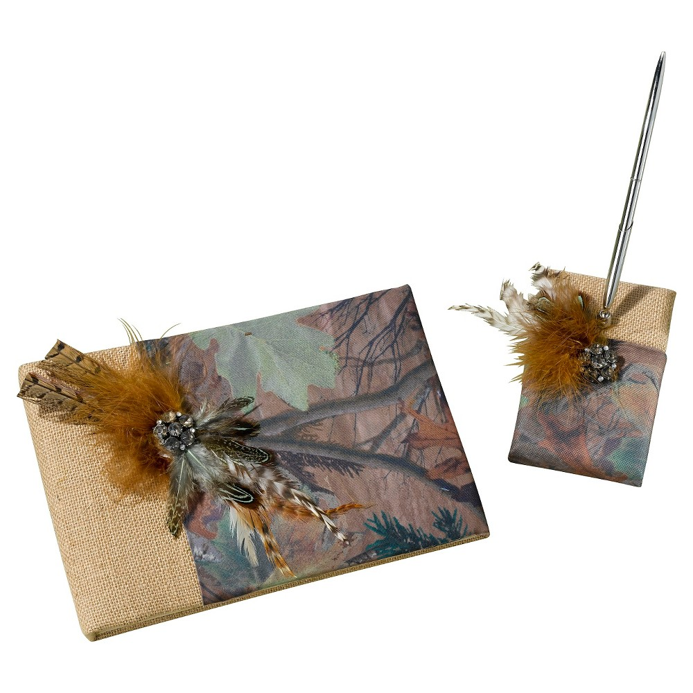 Image of Camouflage Guest Book with Pen Set