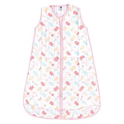 Hudson Baby Infant Girl Muslin Cotton Sleeveless Wearable Sleeping Bag, Sack, Blanket, Ice Cream