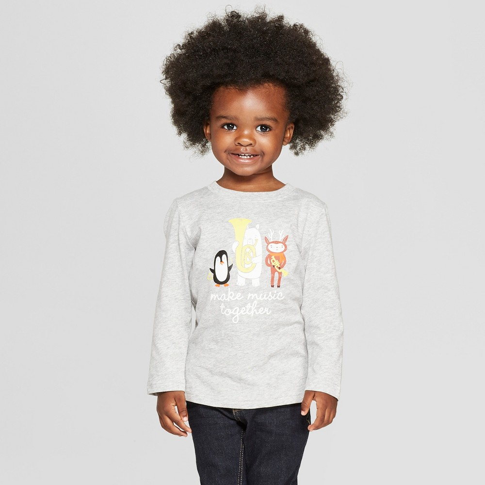 Toddler Boys' Make Music Together Long Sleeve T-Shirt - Cat & Jack Gray 2T