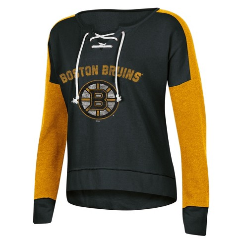 NHL Boston Bruins Women s Warming House Open Neck Fleece Sweatshirt ... 502f3aa8a