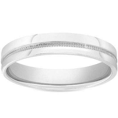 Pompeii3 Mens 10k White Gold 4mm Flat Band High Polished Milgrain Accent Wedding Ring