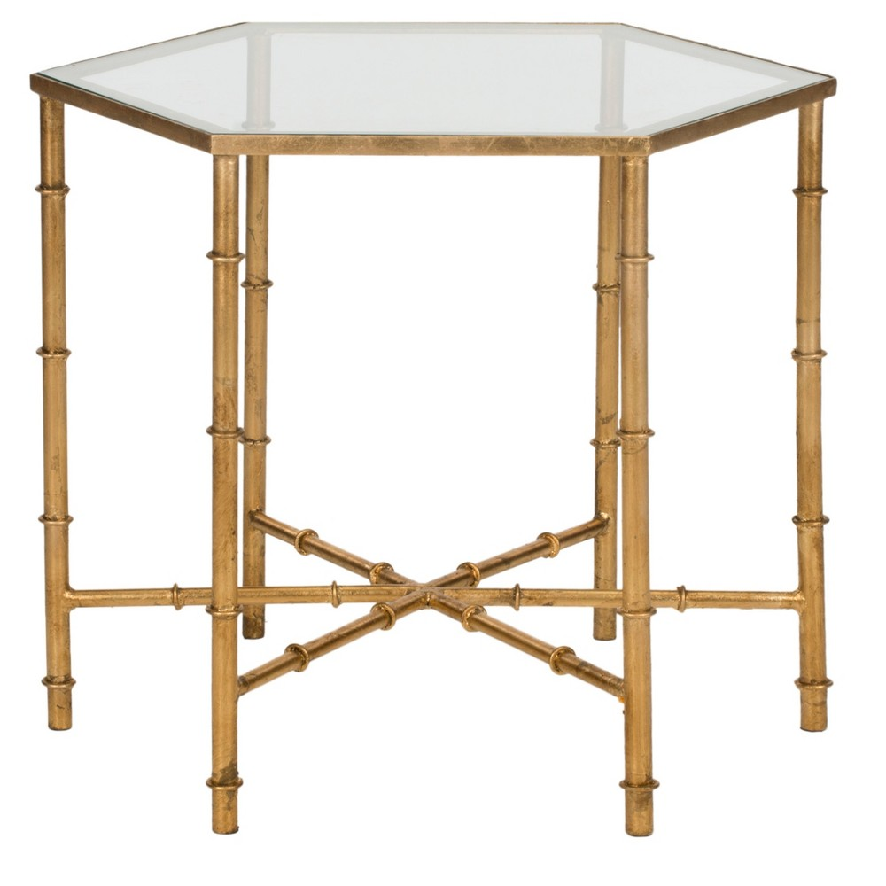 Kerri Accent Table - Gold/Clear - Safavieh, Gold/Glass