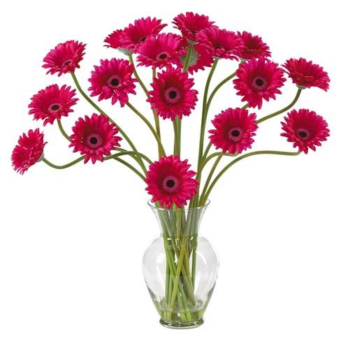Nearly Natural Gerber Daisy Liquid Illusion Silk Flower Arrangement - image 1 of 2