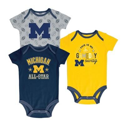 Michigan Wolverines Baby Boy Short Sleeve 3pk Bodysuit - 6-9M
