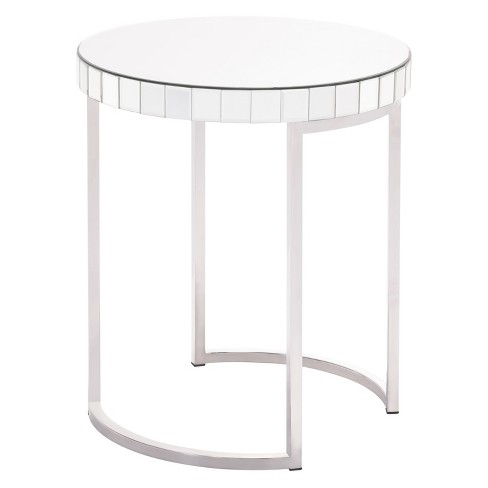 "20.5"" Modern Stainless Steel and Mirror Round Accent Table - Silver - ZM Home - image 1 of 3"