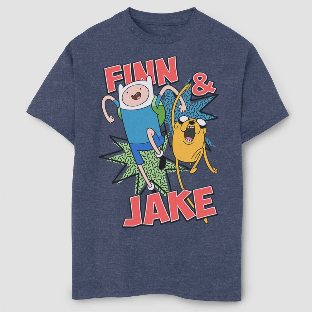 Image of Boys' Adventure Time Jake And Finn T-Shirt - Navy L, Boy's, Size: Large, Blue