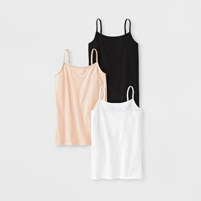 Girls' 3pk Cami - Cat & Jack™ Black/Tan/White L