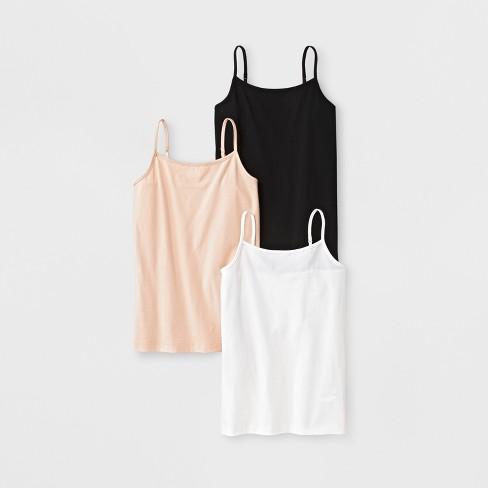Girls' 3pk Cami - Cat & Jack™ Black/Tan/White - image 1 of 1