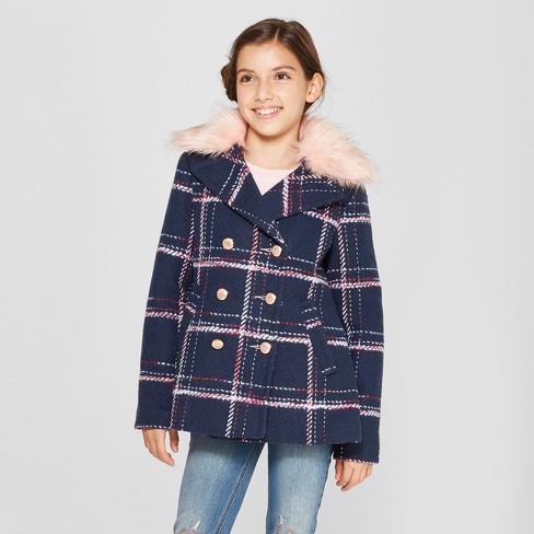 Girls' Faux Fur Collared Pea Coat - Cat & Jack™ Navy - image 1 of 4