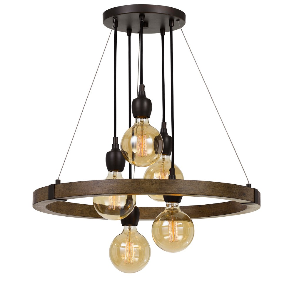 60W X 5 Martos Metal/Wood Chandelier Ceiling Light (Edison Bulbs Included) - Cal Lighting, Craftsmen Brown