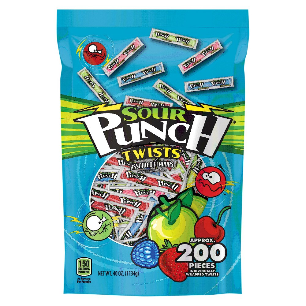 Sour Punch Twists Assorted Flavors Licorice Candy - 40oz