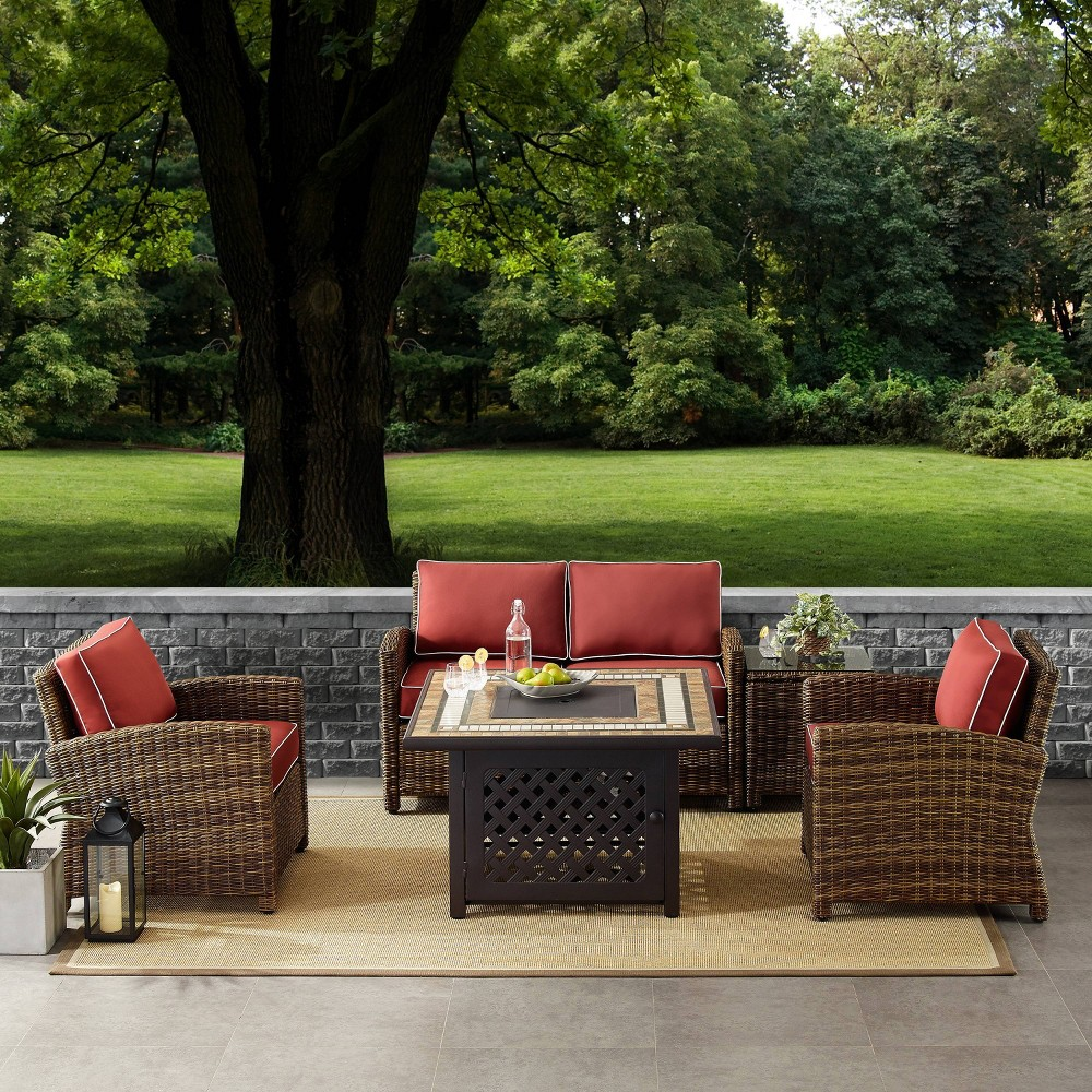 5pc Bradenton Outdoor Wicker Conversation Set with Sangria Cushions Brown - Crosley