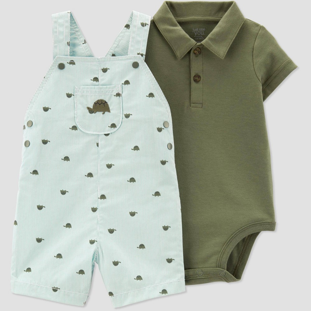9cc71b4cd Baby Boys 2pc Turtle Print Shortall Set Just One You made by carters Green  9M Blue