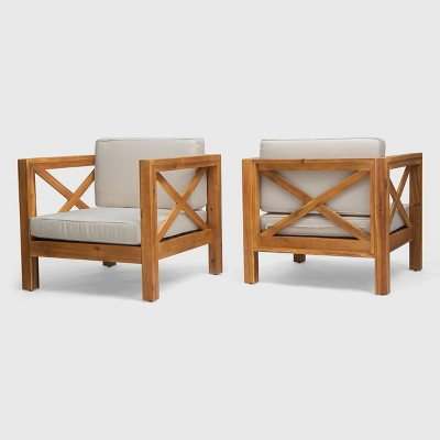 Brava 2pk Acacia Wood Club Chairs Teak/Beige - Christopher Knight Home
