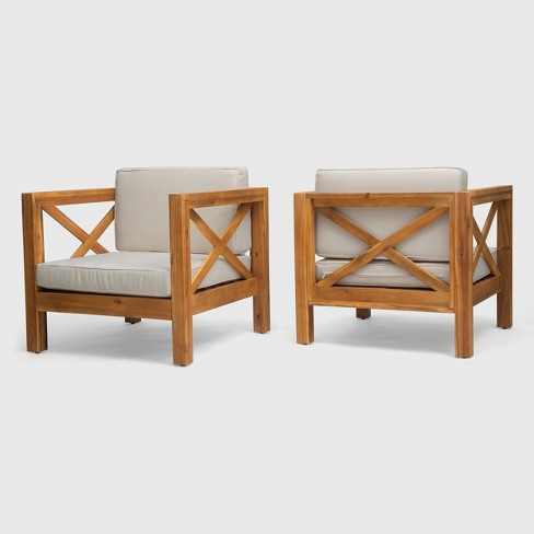 Brava 2pk Acacia Wood Club Chairs Teak/Beige - Christopher Knight Home - image 1 of 4