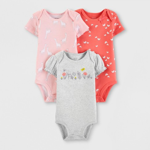 7dbd7c5bd210 Baby Girls' 3pk Bodysuits - Just One You® made by carter's Pink/Orange/Gray