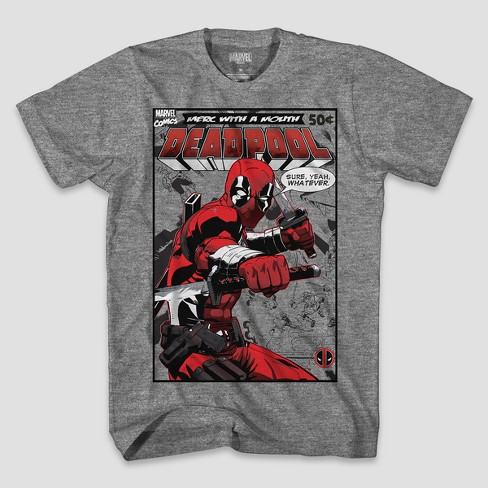 Men's Big & Tall Short Sleeve Marvel Deadpool Comic T-Shirt - Heather - image 1 of 1
