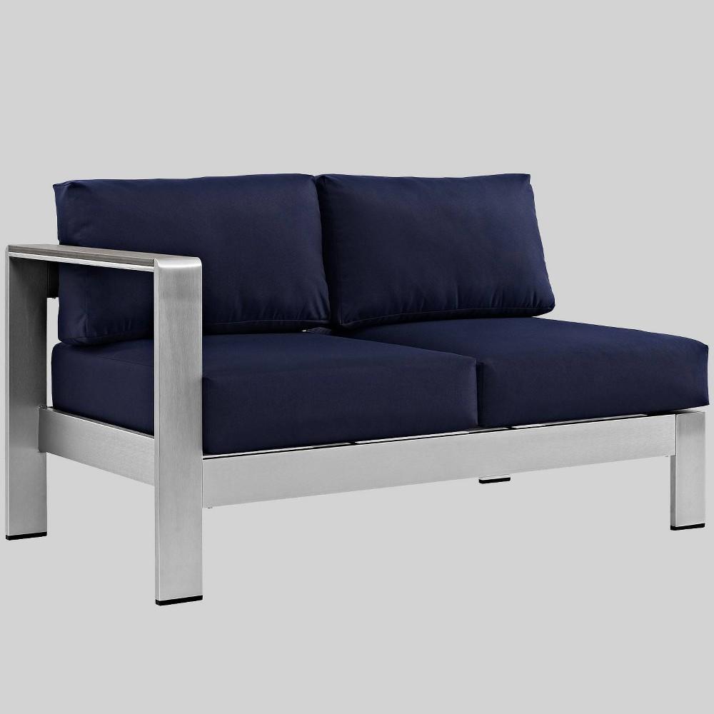 Awe Inspiring Shore Left Arm Corner Sectional Outdoor Aluminum Loveseat Bralicious Painted Fabric Chair Ideas Braliciousco