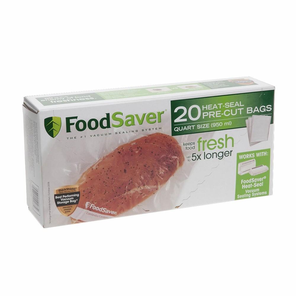 FoodSaver 1qt 20ct Heat-Seal Pre-Cut Rolls, Clear