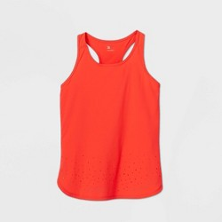 Girls' Laser Cut Stretch Woven Tank Top - All in Motion™