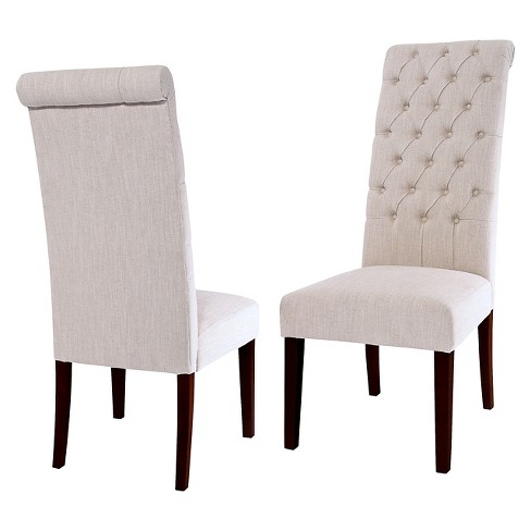 Tufted Tall Dining Chair Natural Set Of 2 Christopher Knight