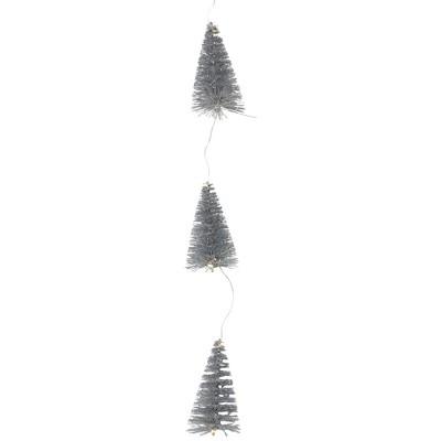 Northlight 6.75' LED Lighted B/O Silver Mini Sisal Tree Christmas Garland - Warm White Lights