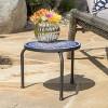 Slate Ceramic Tile Side Table - Blue/White - Christopher Knight Home - image 2 of 4