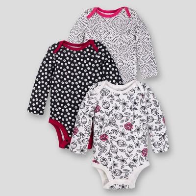 Lamaze Baby Girls' Organic Long Sleeve Rose Print Bodysuit - Black Newborn