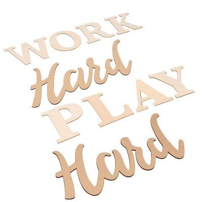 Genie Crafts Unfinished Wood Sign Wall Decal, Stencils Plywood Wood Letters, Work Hard Play Hard