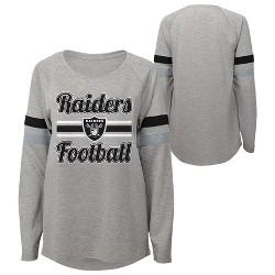 NFL Oakland Raiders Juniors' Gray Crewneck Fleece Sweatshirt