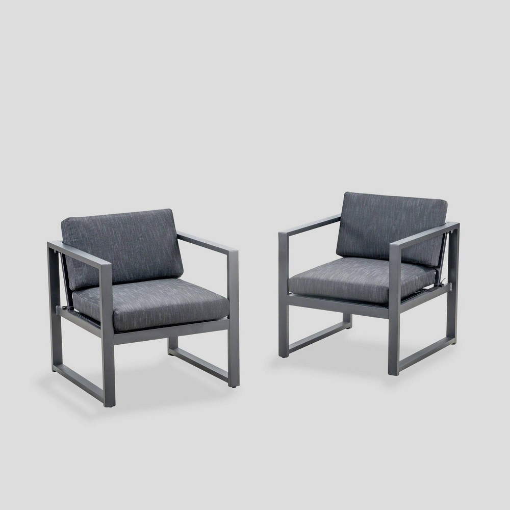 Navan 2pk Aluminum Club Chairs Dark Gray/Black - Christopher Knight Home