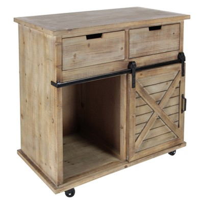 Wood Metal Storage Cabinet 2 Drawers 2 Doors Brown - Olivia & May