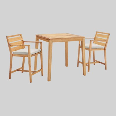 3pc Portsmouth Outdoor Patio Karri Wood Bar Set Natural Taupe - Modway